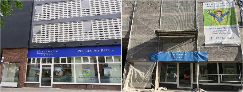 Links: Neue Fassade von Hilfe Daheim; Rechts: Die Fassade während des Umbaus. Foto: Anna Gatz