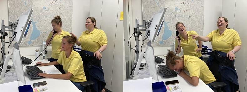 Spaß bei der Arbeit: Anna, Nadja und Sarah (v.l.n.r.). Foto: A. Mortensen